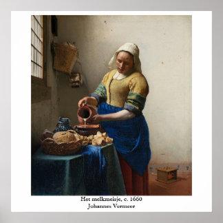 Johannes Vermeer's The Milkmaid Poster