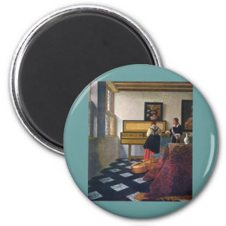 Johannes Vermeer's The Music Lesson (circa1663) 2 Inch Round Magnet