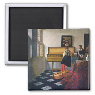 Johannes Vermeer's The Music Lesson (circa1663) 2 Inch Square Magnet