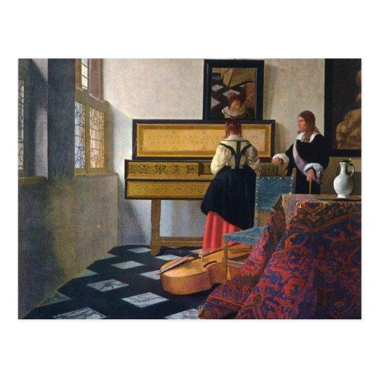 Johannes Vermeer's The Music Lesson (circa1663) Postcard