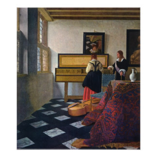 Johannes Vermeer's The Music Lesson (circa1663) Print