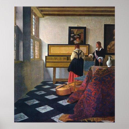Johannes Vermeer's The Music Lesson (circa1663) Print