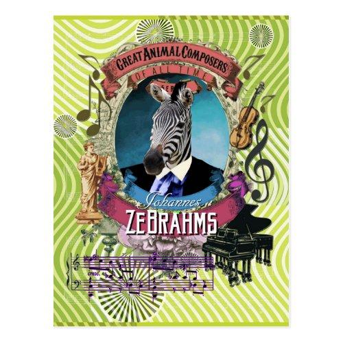 Johannes Zebrahms Zebra Animal Composer Brahms Postcard
