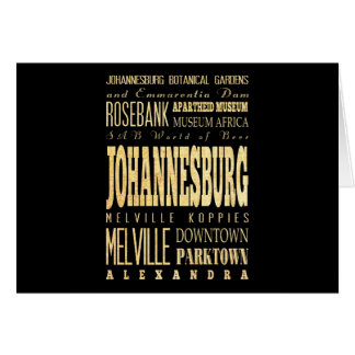Johannesburg City of South Africa Typography Art Card