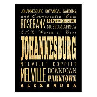 Johannesburg City of South Africa Typography Art Postcard