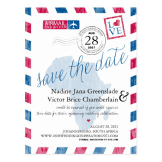 Johannesburg South Africa Airmail Save The Date Postcard