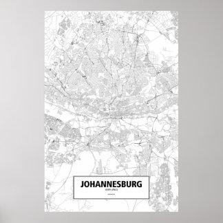 Johannesburg, Suráfrica (negro en blanco) Póster