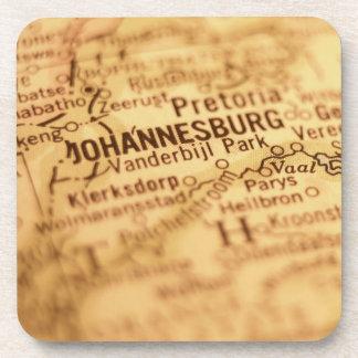 JOHANNESBURG Vintage Map Drink Coaster
