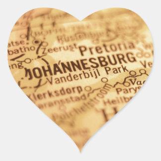 JOHANNESBURG Vintage Map Heart Sticker
