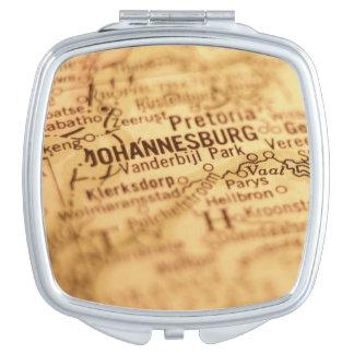 JOHANNESBURG Vintage Map Makeup Mirror