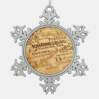 JOHANNESBURG Vintage Map Snowflake Pewter Christmas Ornament