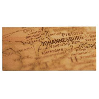 JOHANNESBURG Vintage Map Wood USB Flash Drive