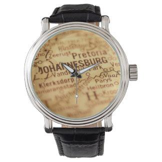 JOHANNESBURG Vintage Map Wrist Watch
