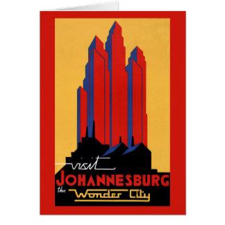 Johannesburg Vintage Travel Poster Restored Card