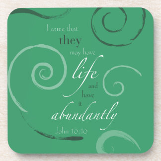 John 10:10 - Choose your own color! Customizable Drink Coasters