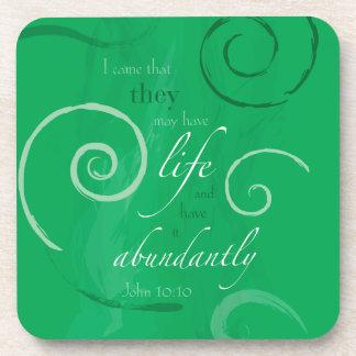 John 10:10 - Life Abundant Beverage Coasters