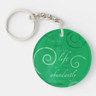 John 10:10 - Life Abundant Double-Sided Round Acrylic Keychain