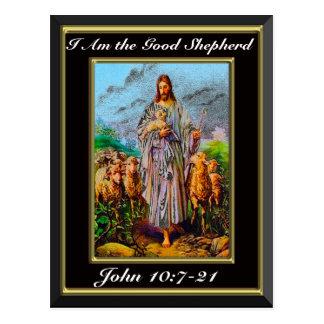 John 10:7-21 I Am the Good Shepherd Black Frame Postcard
