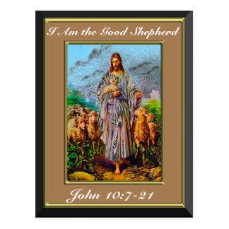 John 10:7-21 I Am the Good Shepherd Brown Frame Postcard