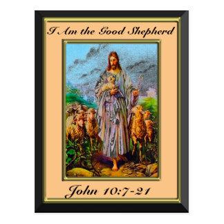 John 10:7-21 I Am the Good Shepherd Cream Frame Postcard