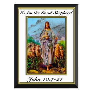 John 10:7-21 I Am the Good Shepherd White Frame Postcard