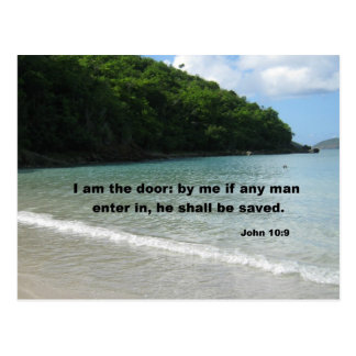 John 10:9 I am the door: by me if any man.... Postcard
