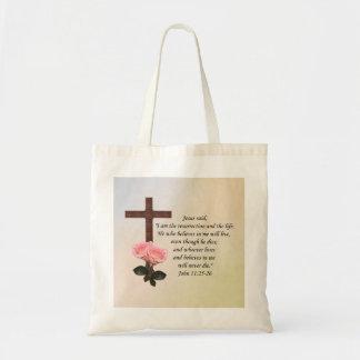 John 11:25-26 ~ Resurrection Life Tote Bag