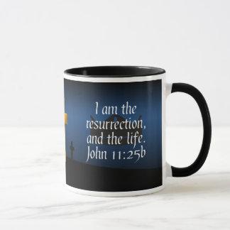 John 11:25b Cross Bible Verse Coffee Mug