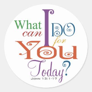 John 13:1-17 Wash Disciples Feet Scripture-Wear Round Sticker