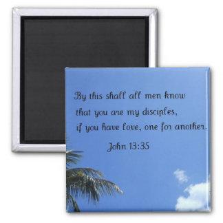 John 13:35 2 inch square magnet