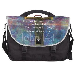 John 14:1 Inspirational Biblical verse Laptop Commuter Bag