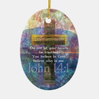 John 14 1 Inspirational Biblical verse Christmas Tree Ornaments