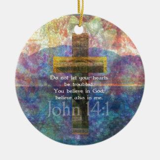 John 14 1 Inspirational Biblical verse Christmas Ornaments