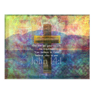 John 14 1 Inspirational Biblical verse Post Card