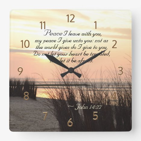John 14:27 My peace I give to you, Bible Verse Square Wall Clock