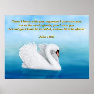 John 14:27 Peace Swan Bible Verse Print
