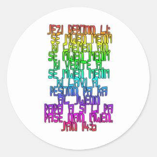 John 14:6 Haitian Creole Round Stickers