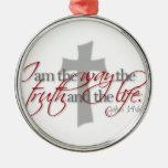 John 14:6 round metal christmas ornament