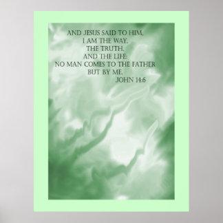 John 14:6 Scripture over Green Clouds Poster