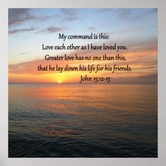 JOHN 15:12 SUNRISE OVER THE OCEAN POSTER
