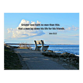 John 15:13 Greater love hath no man than this... Postcard