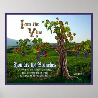 John 15: 5-8 Grape Vine Scripture Print