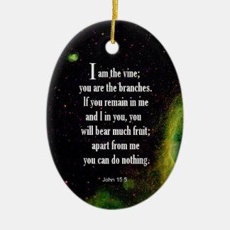 John 15:5 Double-Sided oval ceramic christmas ornament