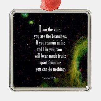 John 15:5 square metal christmas ornament
