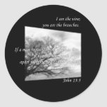 John 15:5 ~ Vine and Branches Round Stickers
