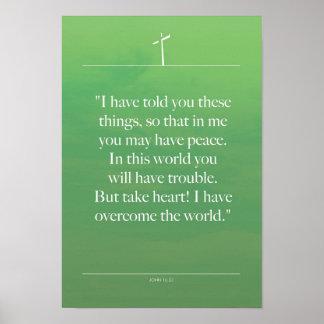 John 16-33 Bible inspiration quotes Poster