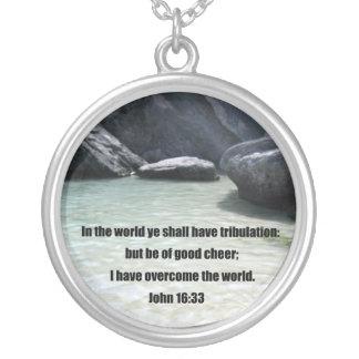 John 16:33 round pendant necklace