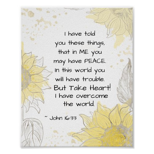 John 16:33 Take heart! I have Overcome the World Poster