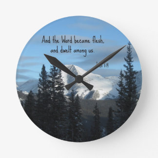John 1:14 And the Word became flesh... Round Wall Clock