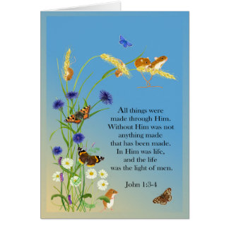 John 1: 3-4 Gospel Scripture and Butterflies Card